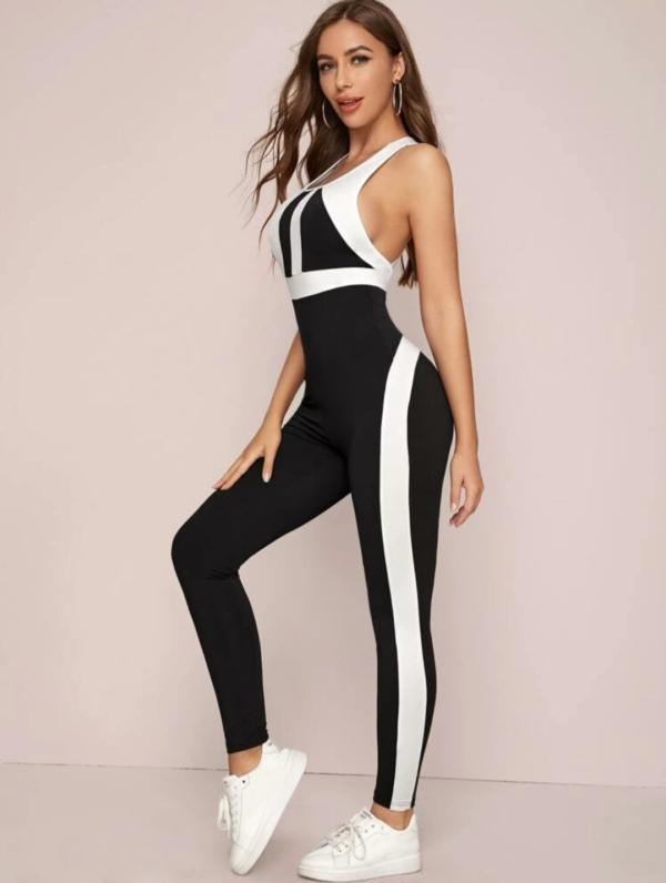 Crisscross Backless Colorblock Unitard Jumpsuit - Beauty Shop